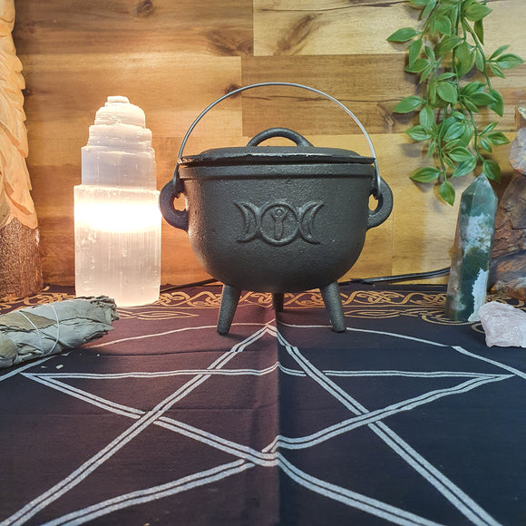 Triple Moon Cast Iron Cauldron - Medium