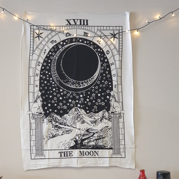 The Moon Tarot Black & White Printed Cotton Tapestry