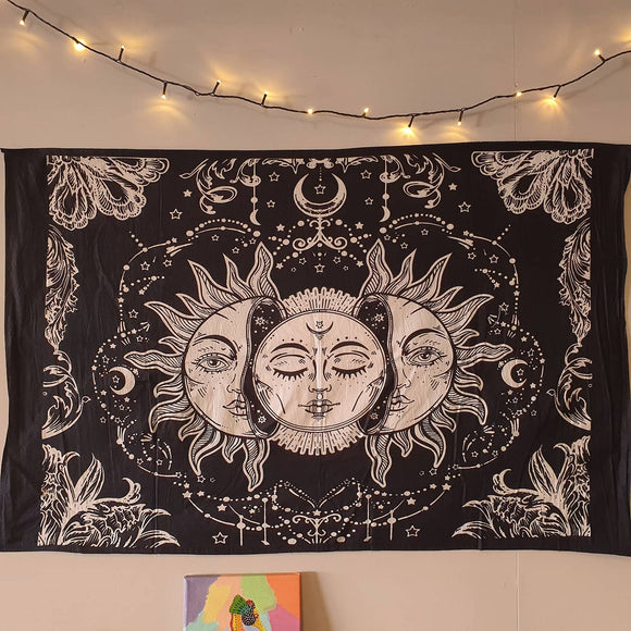 Sun and Moon Printed Cotton Tapestry