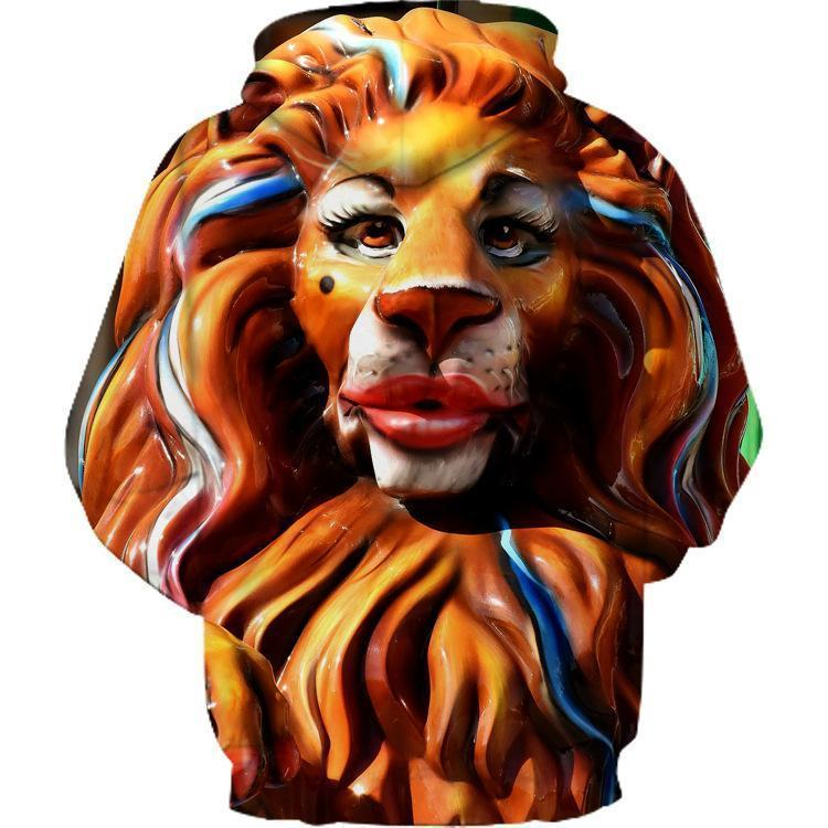 """Makeup Lion'' Couple 3D Print Hooded Sweatshirt"