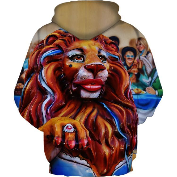 """Makeup Lion 2'' Couple 3D Print Hooded Sweatshirt"
