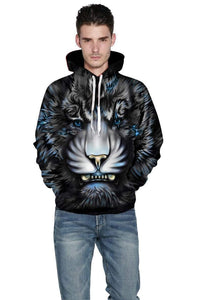 """Angry Tiger'' Couple 3D Print Hooded Sweatshirt"