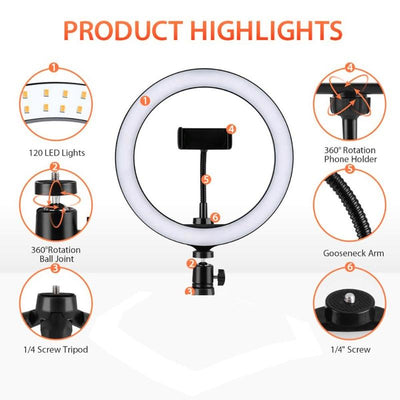 "10"" Selfie Ring Light With Extendable Tripod Stand & Flexible Phone Holder for Live Stream/Makeup/YouTube Video"