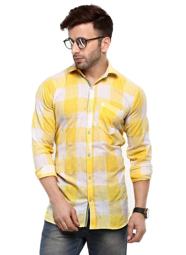Hangup Multicoloured Cotton Blend Checked Slim Fit Casual Shirt