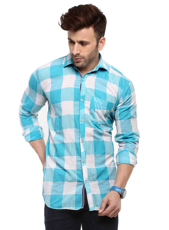 Hangup Turquoise Cotton Blend Checked Slim Fit Casual Shirt