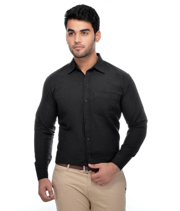 Black Cotton Regular Fit Formal Shirt - pricegrill.com