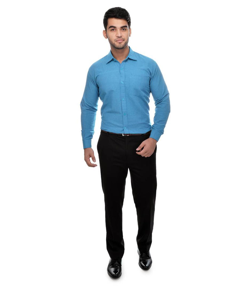 Blue Cotton Regular Fit Formal Shirt - pricegrill.com