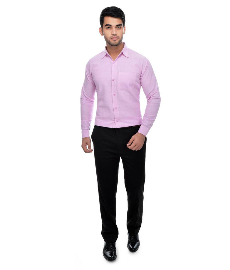 Pink Cotton Regular Fit Formal Shirt - pricegrill.com