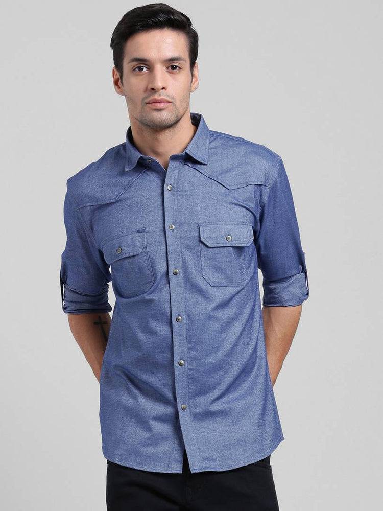 Being Fab Navy Blue Denim Solid Slim Fit Casual Shirt