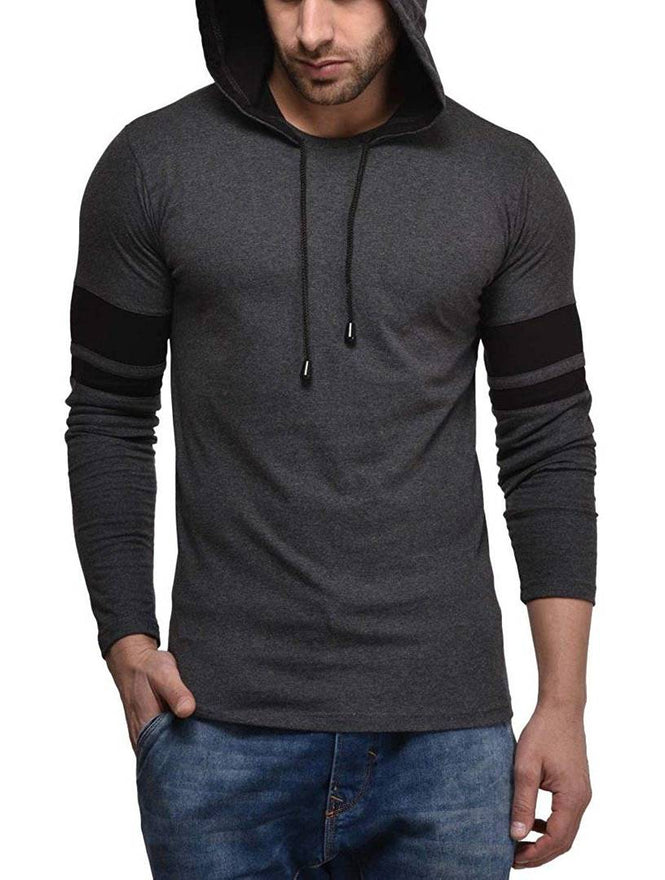 Grey Solid Full Sleeves Hooded T-Shirt