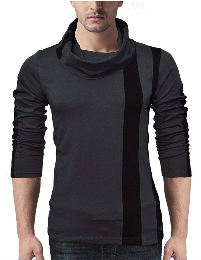 Seven Rocks Grey Cotton Blend Self Pattern High Neck Tees - pricegrill.com