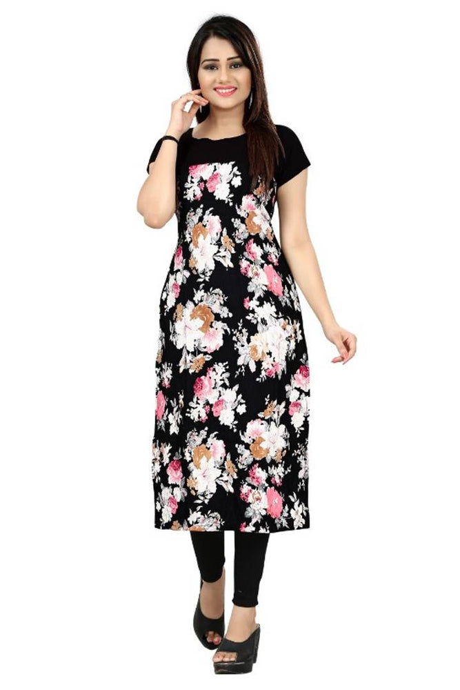 Stylish Printed Straight Cut Crepe Kurti - pricegrill.com