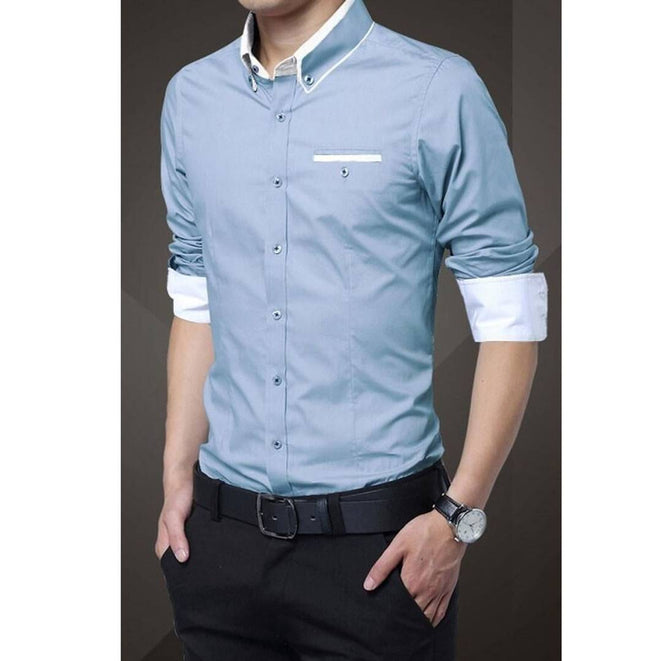 Blue Solid Cotton Slim Fit Casual Shirt