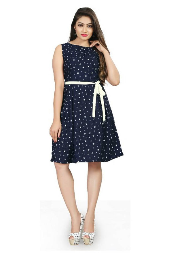 Blue Knee Length Fit and Flare Dress