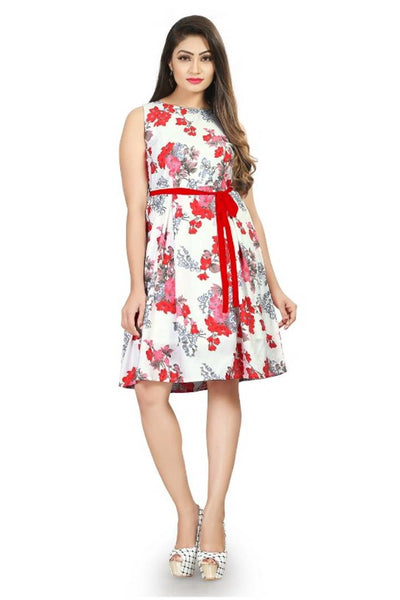 Floral Printed Crepe Fit and Flare Dress