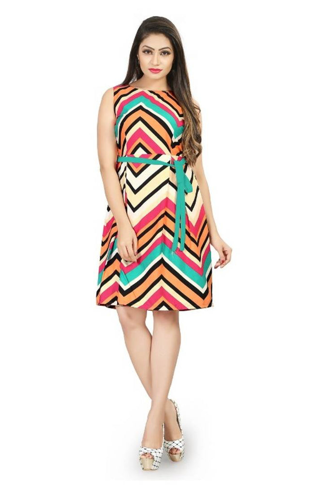 Printed Crepe Knee Length Dress For Women's