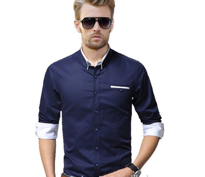 Navy Blue Solid Cotton Slim Fit Casual Shirt - pricegrill.com