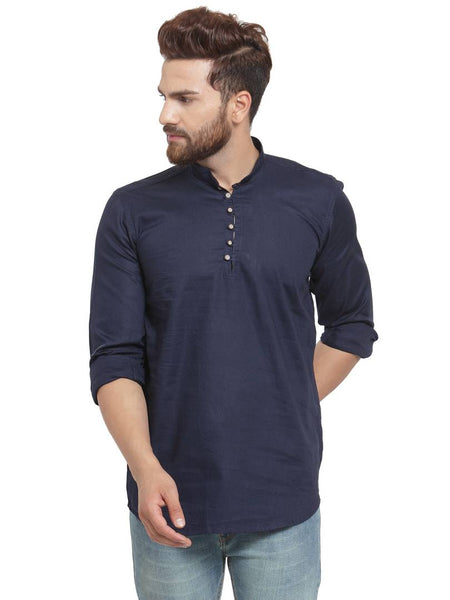 Navy Blue Cotton Solid Long Sleeves Casual Shirt