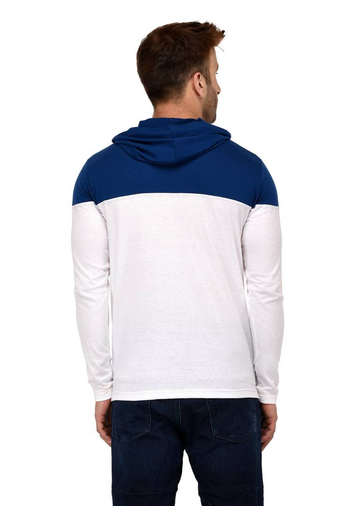 White Cotton Colourblocked Hooded Tees - pricegrill.com