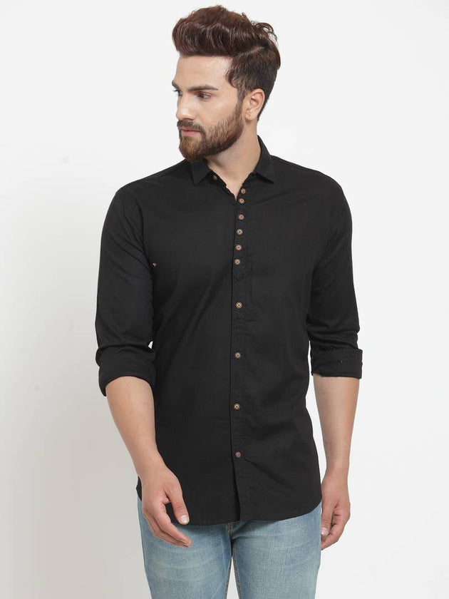 Black Solid Cotton Long Sleeves Casual Shirt