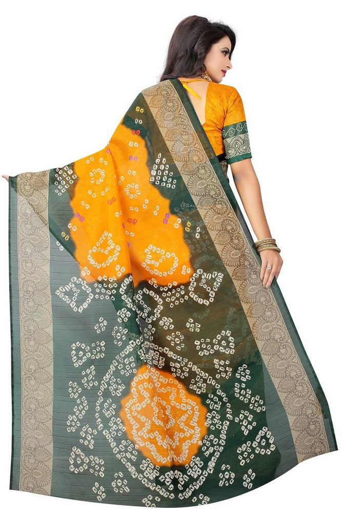 Yellow Printed Art Silk Saree With Blouse piece - pricegrill.com