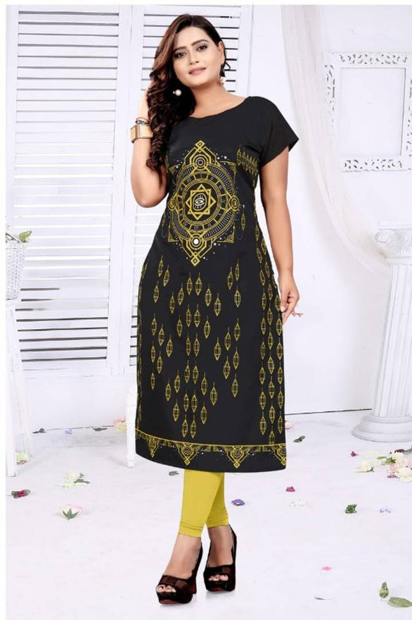 Stylish Black American Crepe Printed Kurti For Women