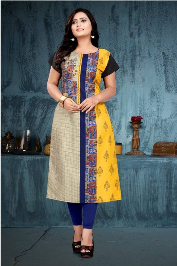 Women's Crepe Printed Stitched Kurti - pricegrill.com