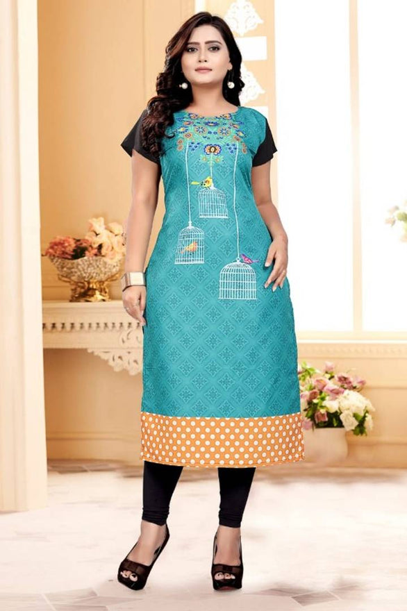 Stylish Crepe Printed Stitched Kurti - pricegrill.com