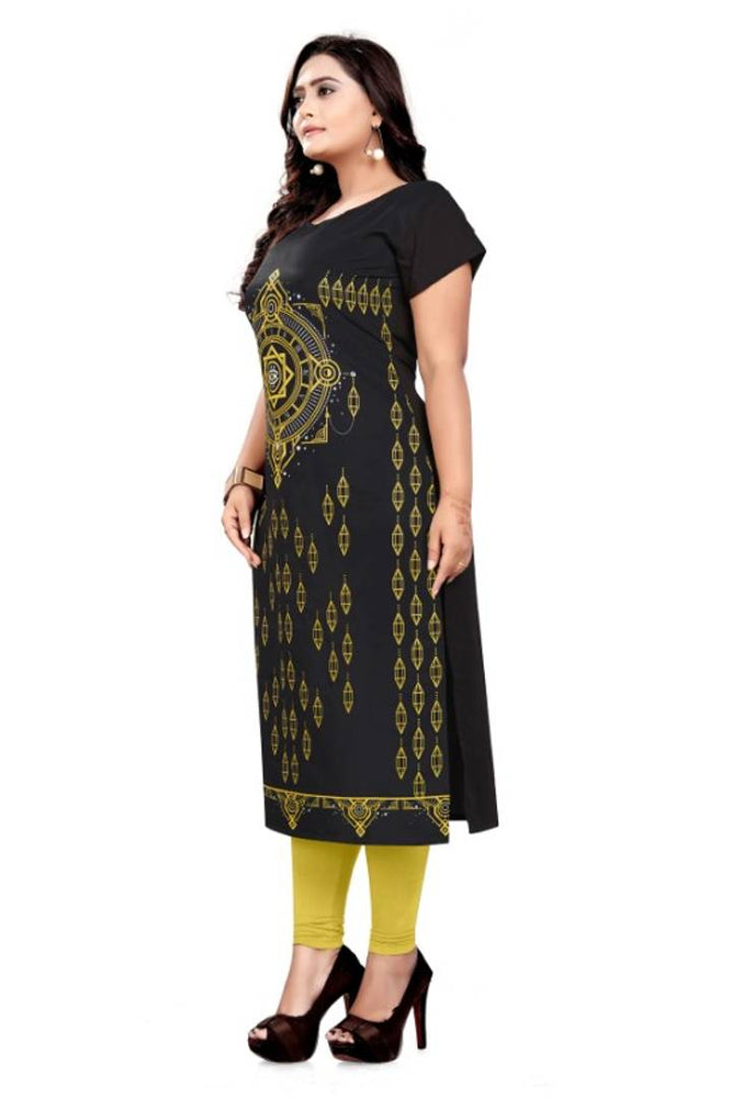 Stylish Black American Crepe Printed Kurti For Women - pricegrill.com