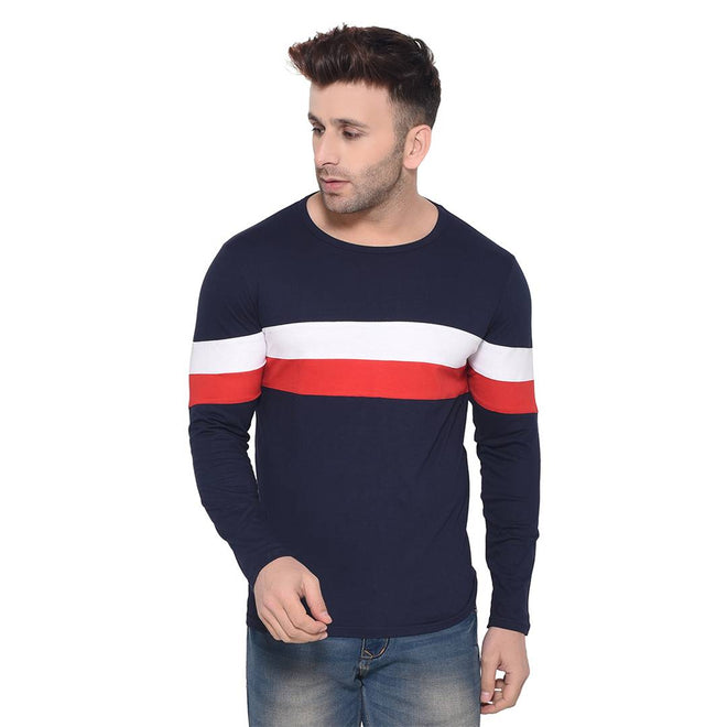 Navy Blue Colourblocked Cotton Round Neck Tees