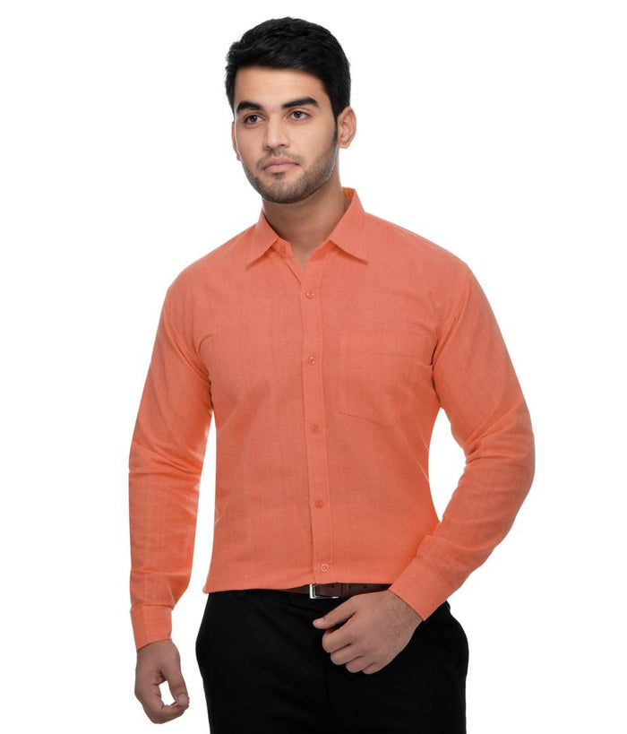 Orange Solid Cotton Regular Fit Formal Shirt for Men's - pricegrill.com