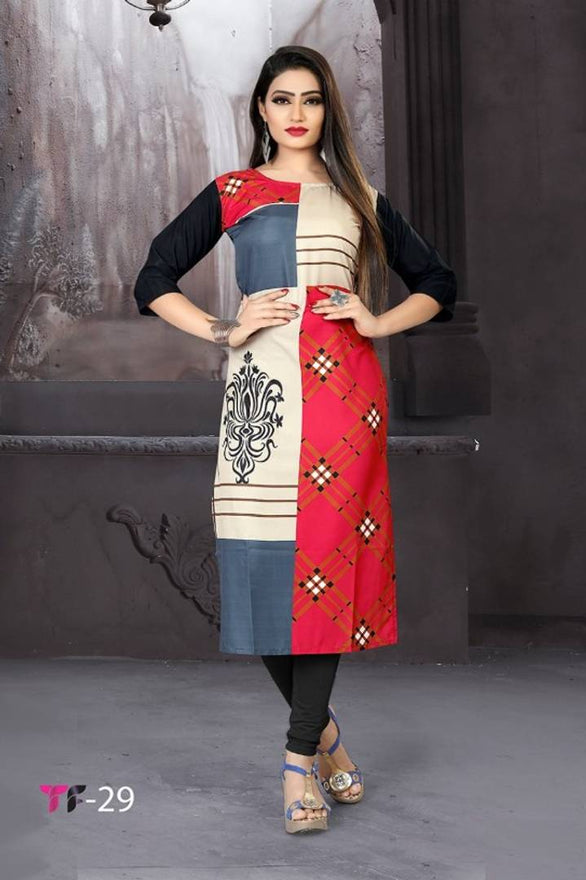 Fashionable Crepe Printed Straight Kurta
