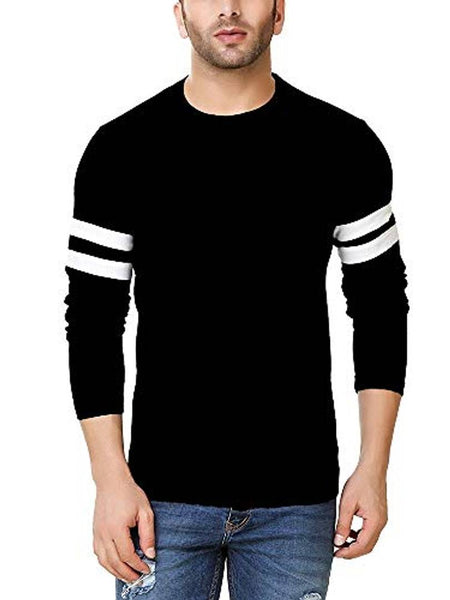Men's Black  Self Pattern Cotton Round Neck Tees
