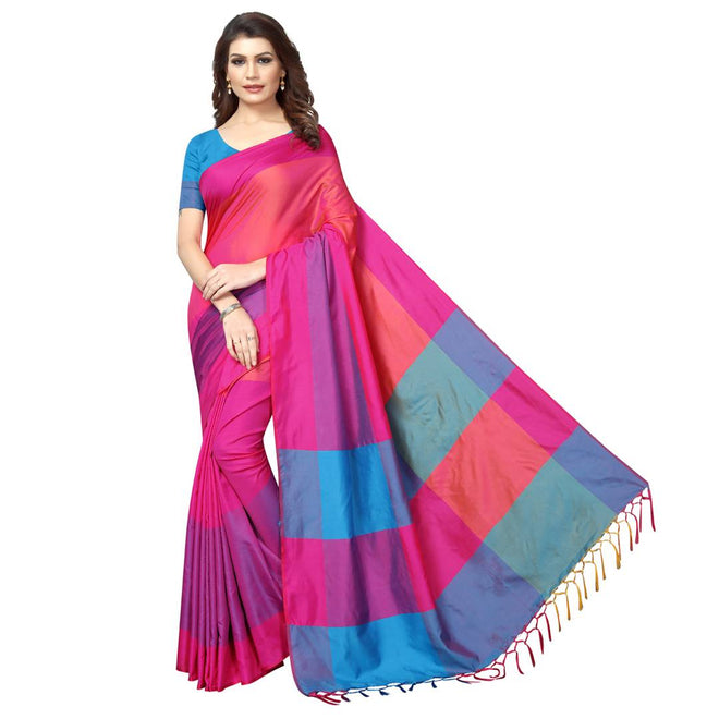 Pink Cotton Silk Solid Saree with Blouse piece