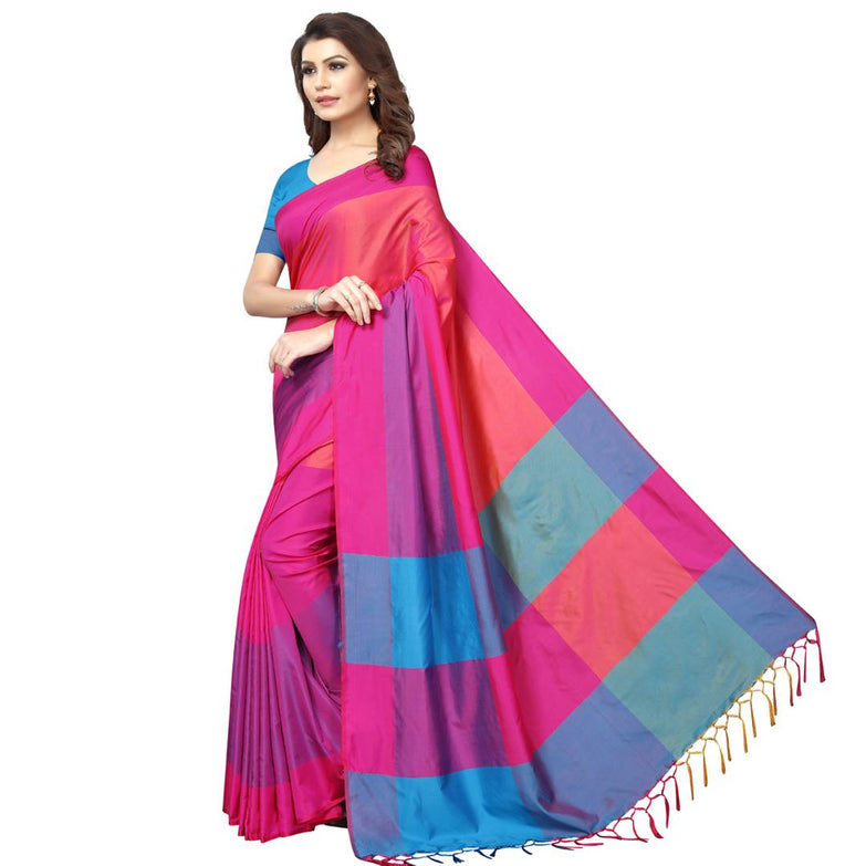 Pink Cotton Silk Solid Saree with Blouse piece - pricegrill.com