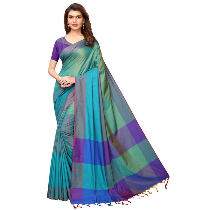 Blue Cotton Silk Solid Saree with Blouse piece - pricegrill.com