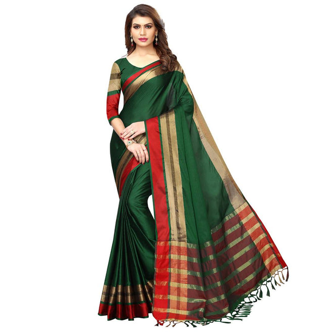 Green Cotton Silk Solid Saree with Blouse piece