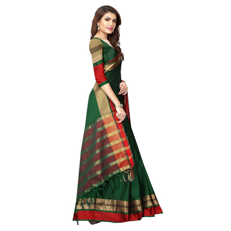 Green Cotton Silk Solid Saree with Blouse piece - pricegrill.com