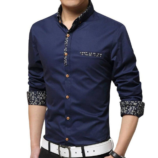Men's Blue Solid Cotton Regular Fit Casual Shirt - pricegrill.com