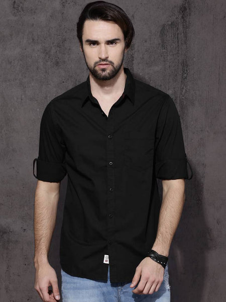 Men's Black Solid Cotton Full Sleeve Casual Shirt - pricegrill.com