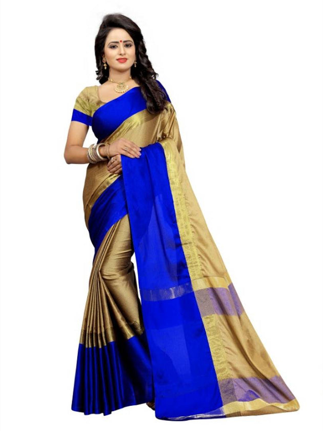 Multicoloured Cotton Silk Saree With Blouse - pricegrill.com