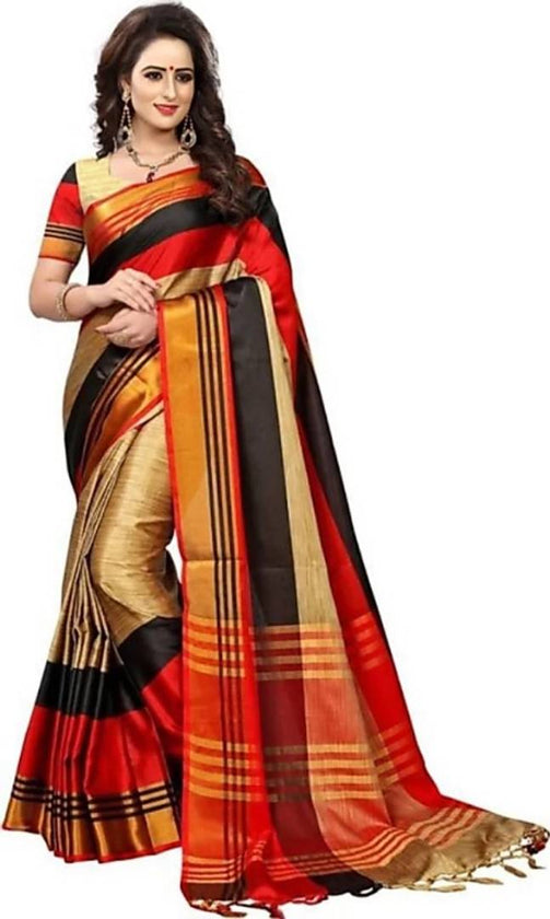 Multicoloured Cotton Silk Saree With Blouse Piece - pricegrill.com