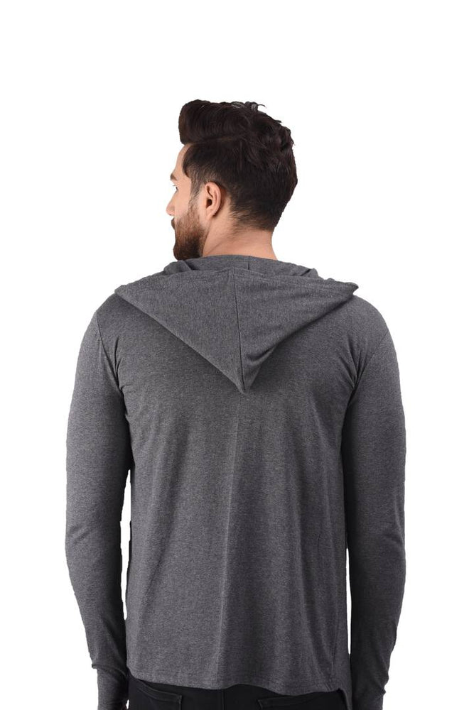 Men's Grey Cotton Blend Solid Long Sleeves Cardigan