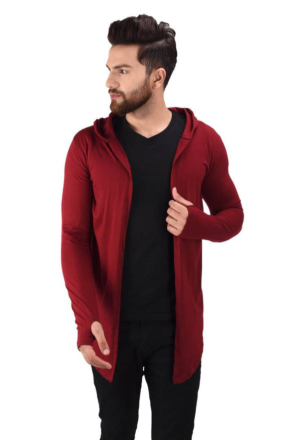 Men's Maroon Cotton Blend Solid Long Sleeves Cardigan