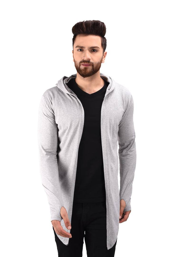 Men's Grey Cotton Blend Solid Long Sleeves Cardigan - pricegrill.com