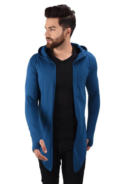 Men's Blue Cotton Blend Solid Long Sleeves Cardigan