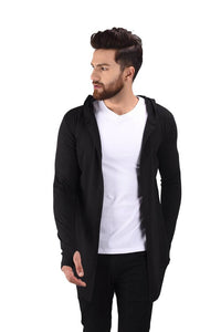 Men's Black Cotton Blend Solid Long Sleeves Cardigan