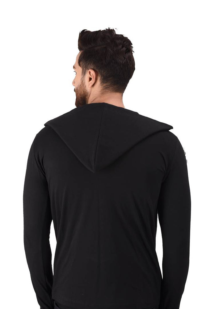 Men's Black Cotton Blend Solid Long Sleeves Cardigan - pricegrill.com