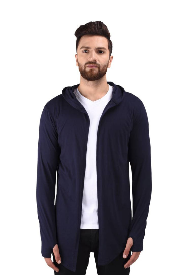 Men's Navy Blue Cotton Blend Solid Long Sleeves Cardigan - pricegrill.com
