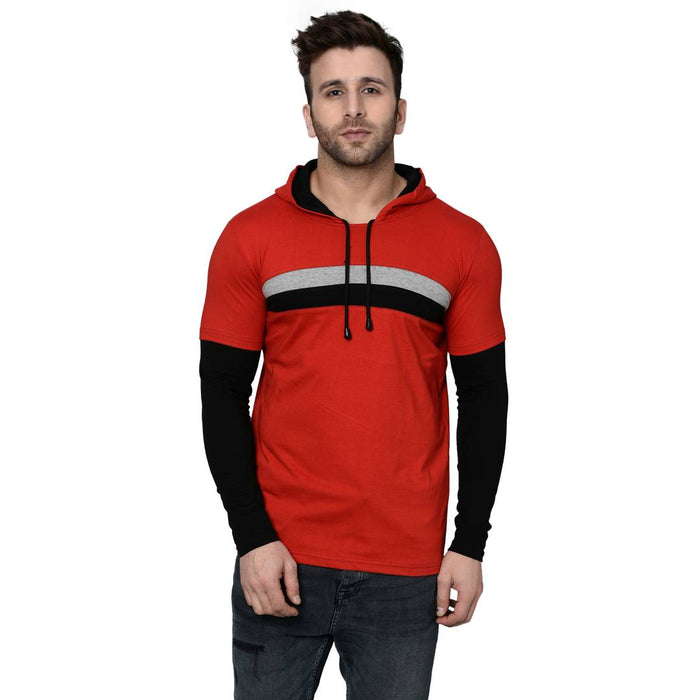Men's Red Cotton Blend Self Pattern Hooded Tees